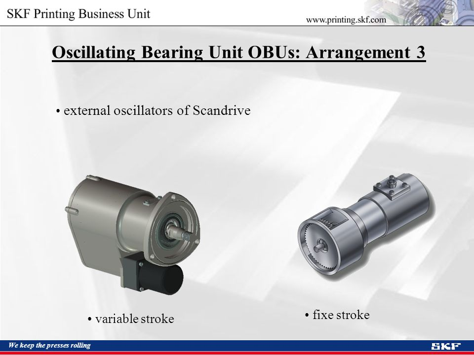 We keep the presses rolling Oscillating Bearing Unit OBUs: Arrangement 3 external oscillators of Scandrive variable stroke fixe stroke