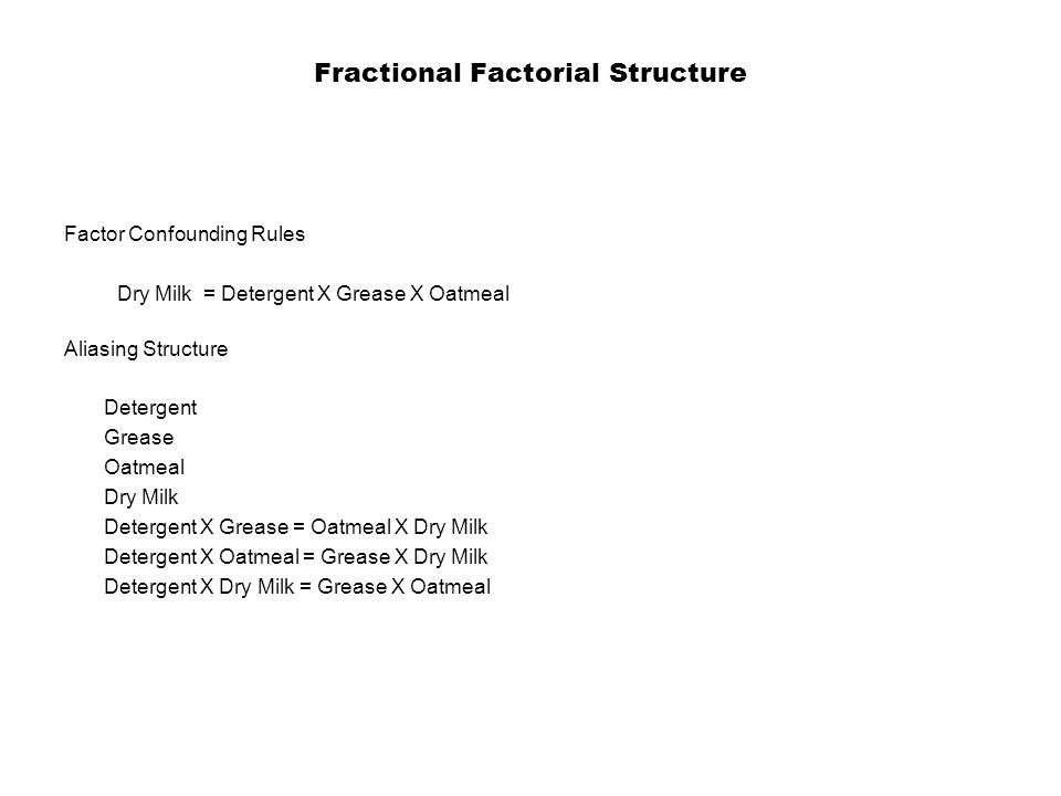 Fractional Factorial Structure Factor Confounding Rules Dry Milk = Detergent X Grease X Oatmeal Aliasing Structure Detergent Grease Oatmeal Dry Milk Detergent X Grease = Oatmeal X Dry Milk Detergent X Oatmeal = Grease X Dry Milk Detergent X Dry Milk = Grease X Oatmeal