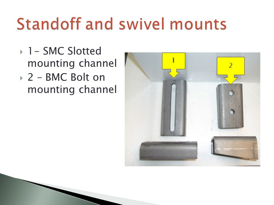 1 2  1- SMC Slotted mounting channel  2 – BMC Bolt on mounting channel