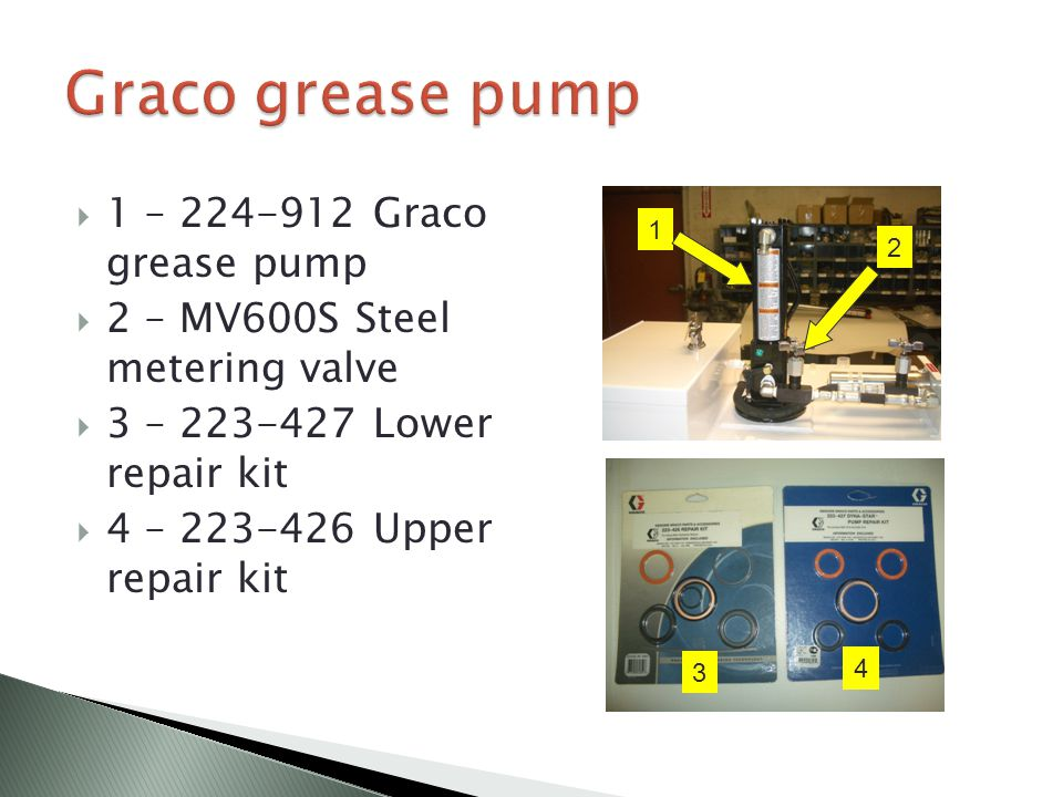  1 – 224-912 Graco grease pump  2 – MV600S Steel metering valve  3 – 223-427 Lower repair kit  4 – 223-426 Upper repair kit 1 2 3 4