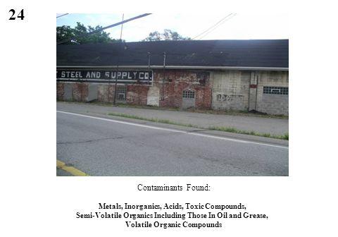 24 Contaminants Found: Metals, Inorganics, Acids, Toxic Compounds, Semi-Volatile Organics Including Those In Oil and Grease, Volatile Organic Compound