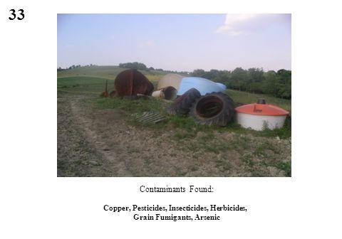 33 Copper, Pesticides, Insecticides, Herbicides, Grain Fumigants, Arsenic Contaminants Found: