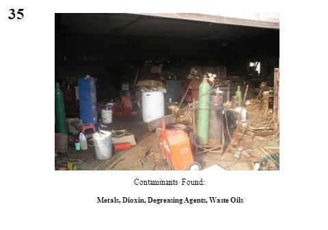 35 Metals, Dioxin, Degreasing Agents, Waste Oils Contaminants Found: