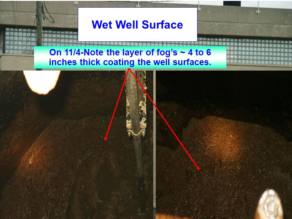 Wet Well Surface On 11/4-Note the layer of fog's ~ 4 to 6 inches thick coating the well surfaces.