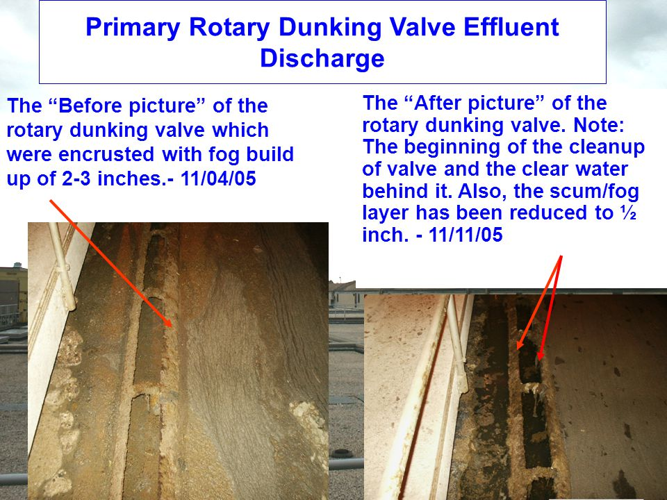 Primary Rotary Dunking Valve Effluent Discharge The Before picture of the rotary dunking valve which were encrusted with fog build up of 2-3 inches.- 11/04/05 The After picture of the rotary dunking valve.