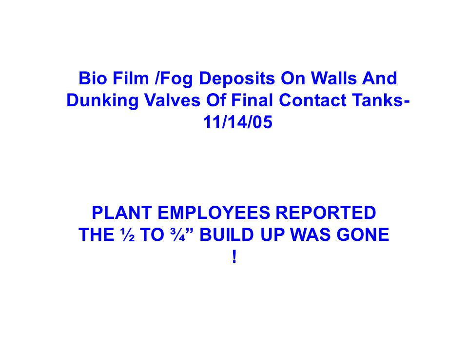 Bio Film /Fog Deposits On Walls And Dunking Valves Of Final Contact Tanks- 11/14/05 PLANT EMPLOYEES REPORTED THE ½ TO ¾ BUILD UP WAS GONE !