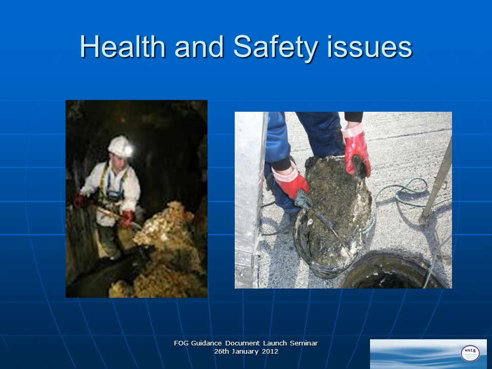 Health and Safety issues FOG Guidance Document Launch Seminar 26th January 2012