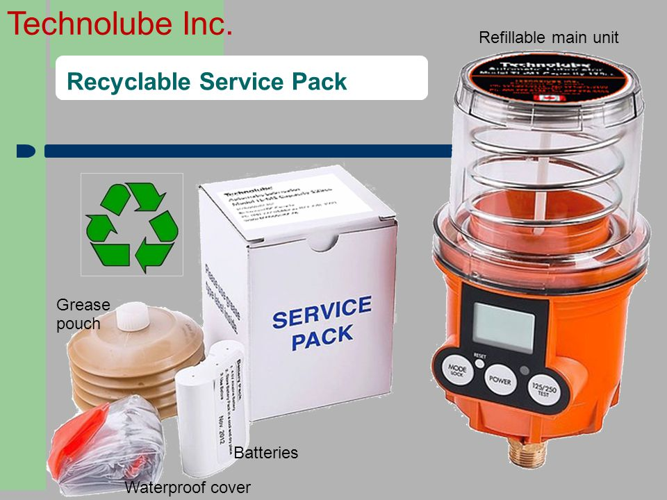 Technolube Inc. Recyclable Service Pack Batteries Grease pouch Waterproof cover Refillable main unit