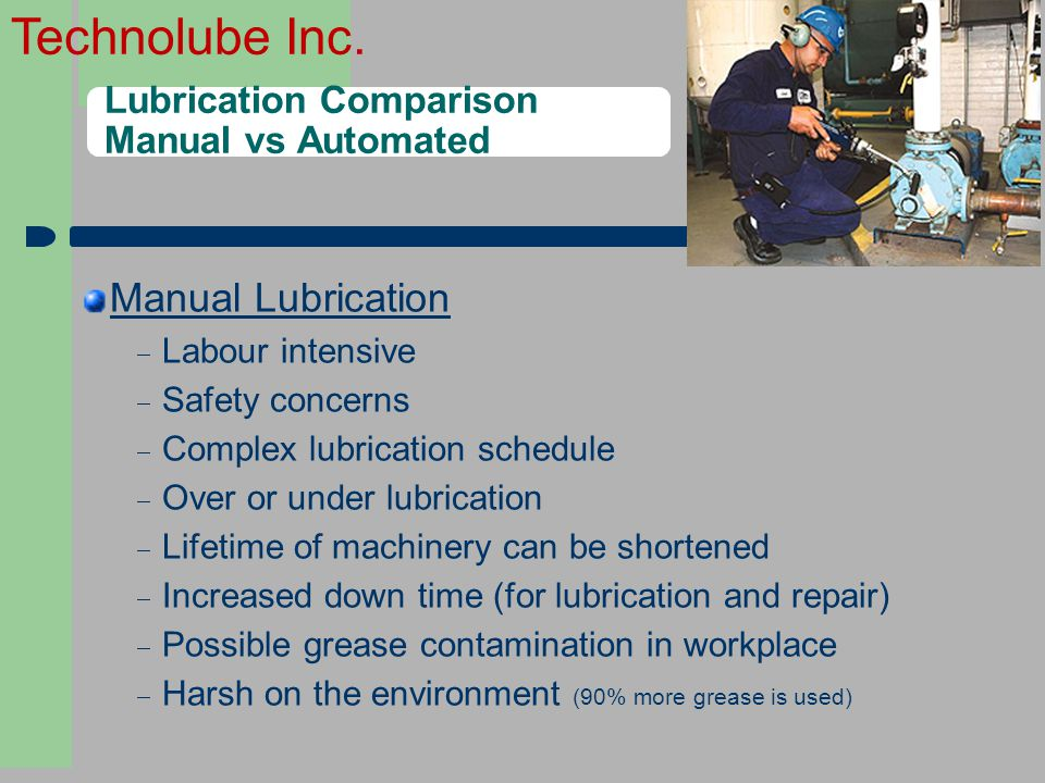 Technolube Inc. Lubrication Comparison Manual vs Automated Manual Lubrication  Labour intensive  Safety concerns  Complex lubrication schedule  Ov