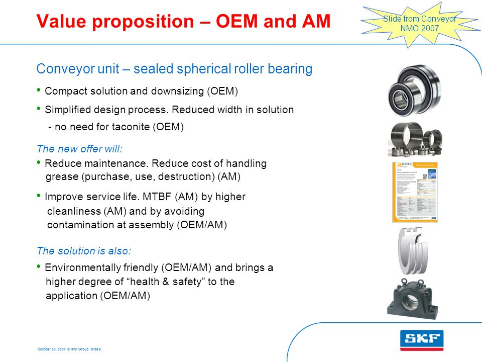 October 30, 2007 © SKF Group Slide 9 Value proposition – OEM and AM Conveyor unit – sealed spherical roller bearing Compact solution and downsizing (OEM) Simplified design process.