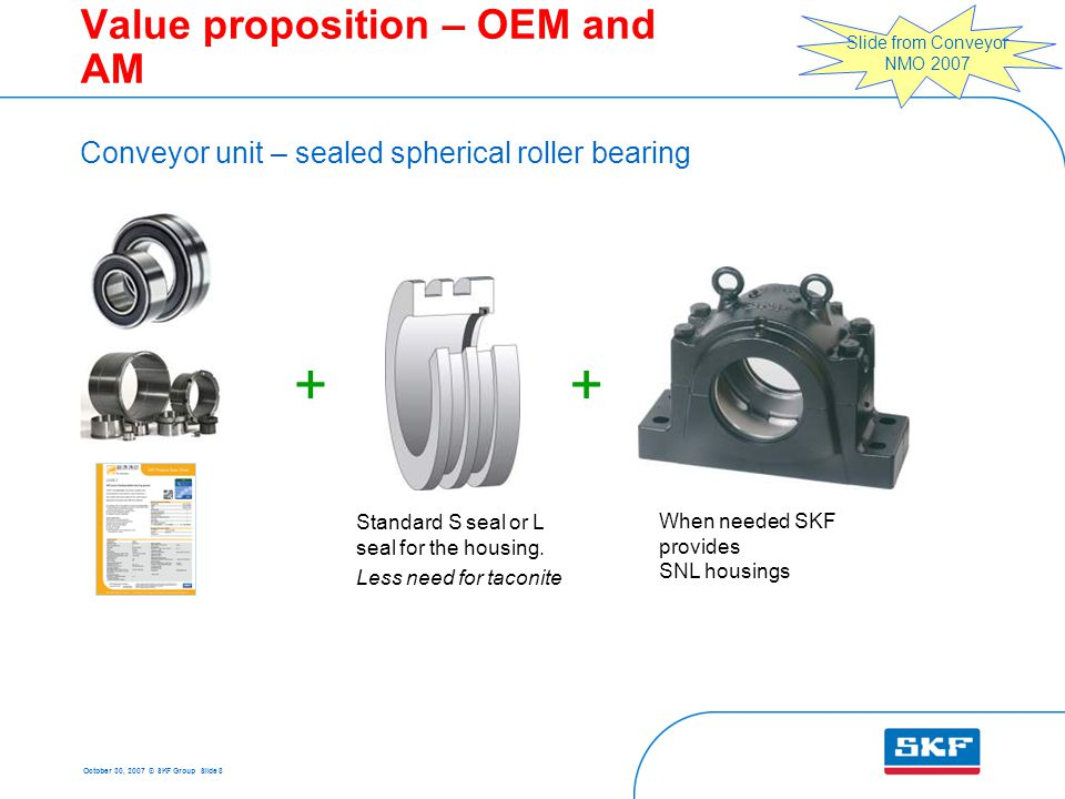 October 30, 2007 © SKF Group Slide 8  Value proposition – OEM and AM Conveyor unit – sealed spherical roller bearing When needed SKF provides SNL housings Standard S seal or L seal for the housing.
