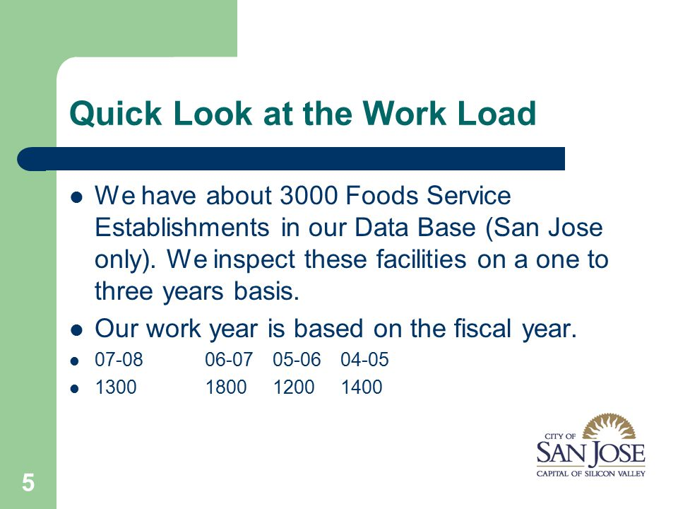 5 Quick Look at the Work Load We have about 3000 Foods Service Establishments in our Data Base (San Jose only).
