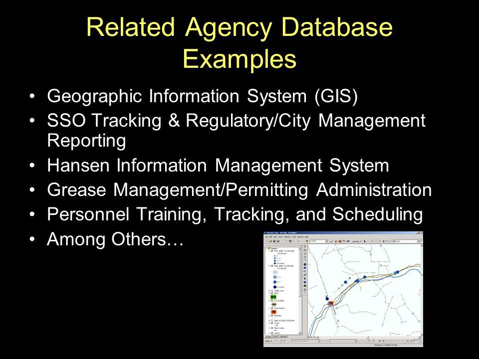 Related Agency Database Examples Geographic Information System (GIS) SSO Tracking & Regulatory/City Management Reporting Hansen Information Management