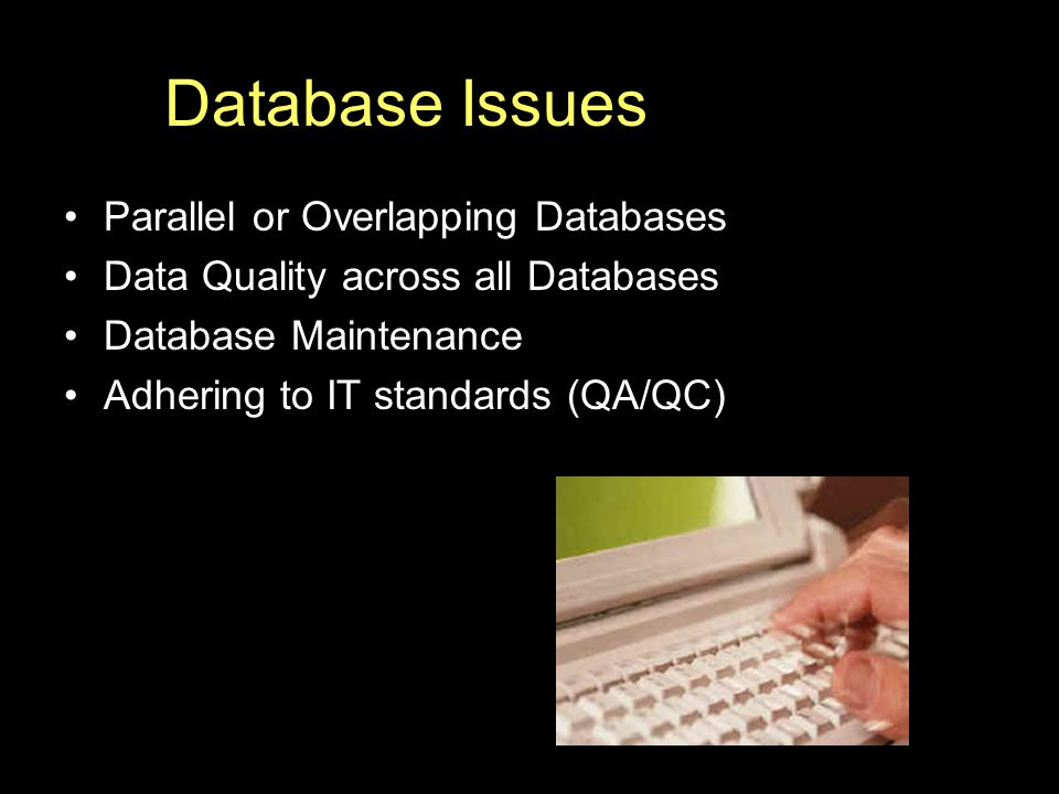 Database Issues Parallel or Overlapping Databases Data Quality across all Databases Database Maintenance Adhering to IT standards (QA/QC)
