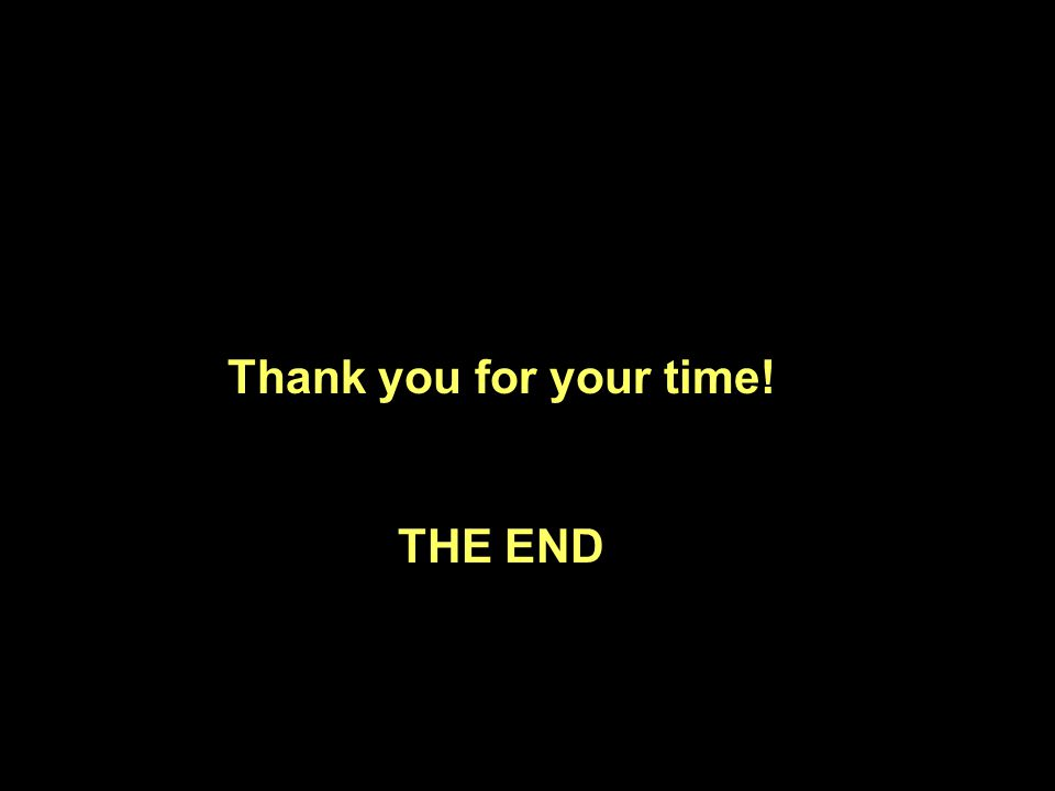 Thank you for your time! THE END