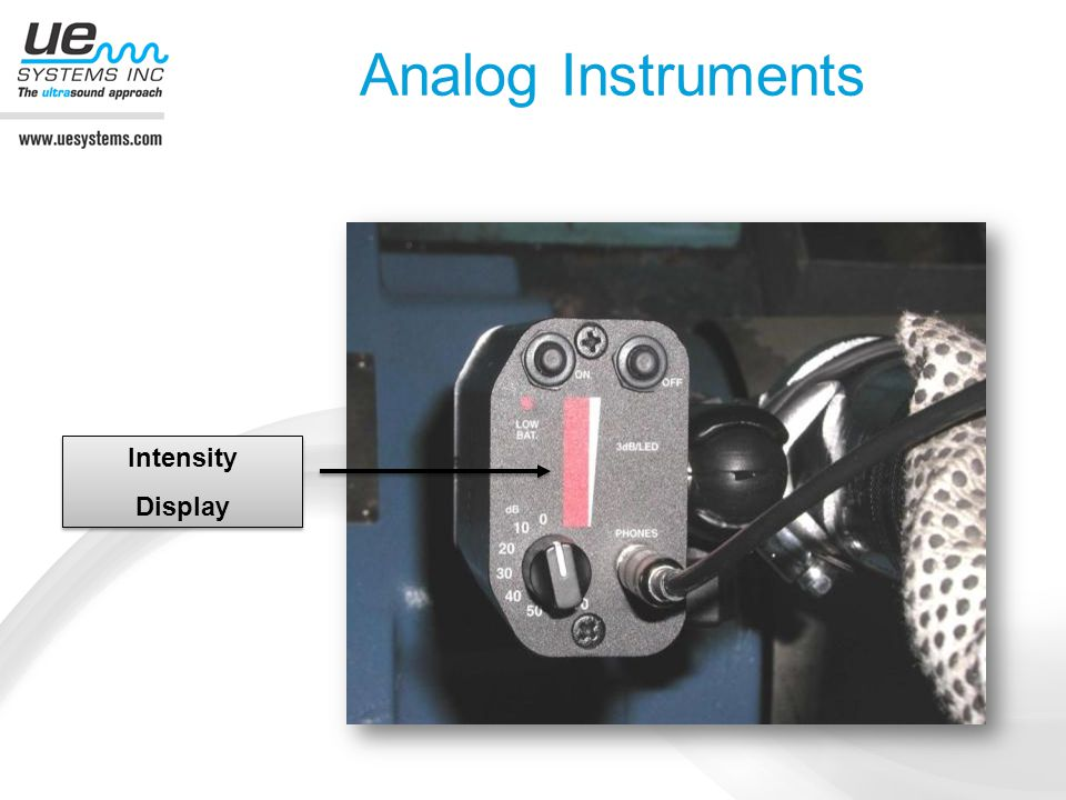 Analog Instruments Listen to heterodyned ultrasounds View intensity levels only (not dB)