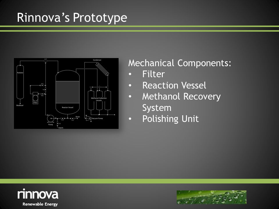 Rinnova's Prototype rinnova Renewable Energy Mechanical Components: Filter Reaction Vessel Methanol Recovery System Polishing Unit
