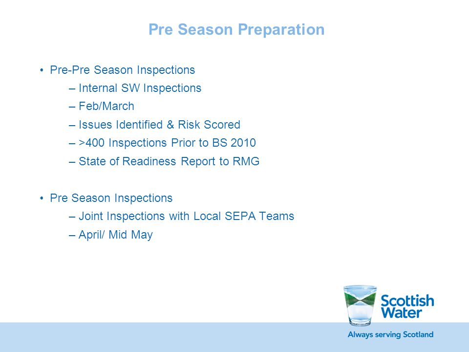Pre Season Preparation Pre-Pre Season Inspections –Internal SW Inspections –Feb/March –Issues Identified & Risk Scored –>400 Inspections Prior to BS 2