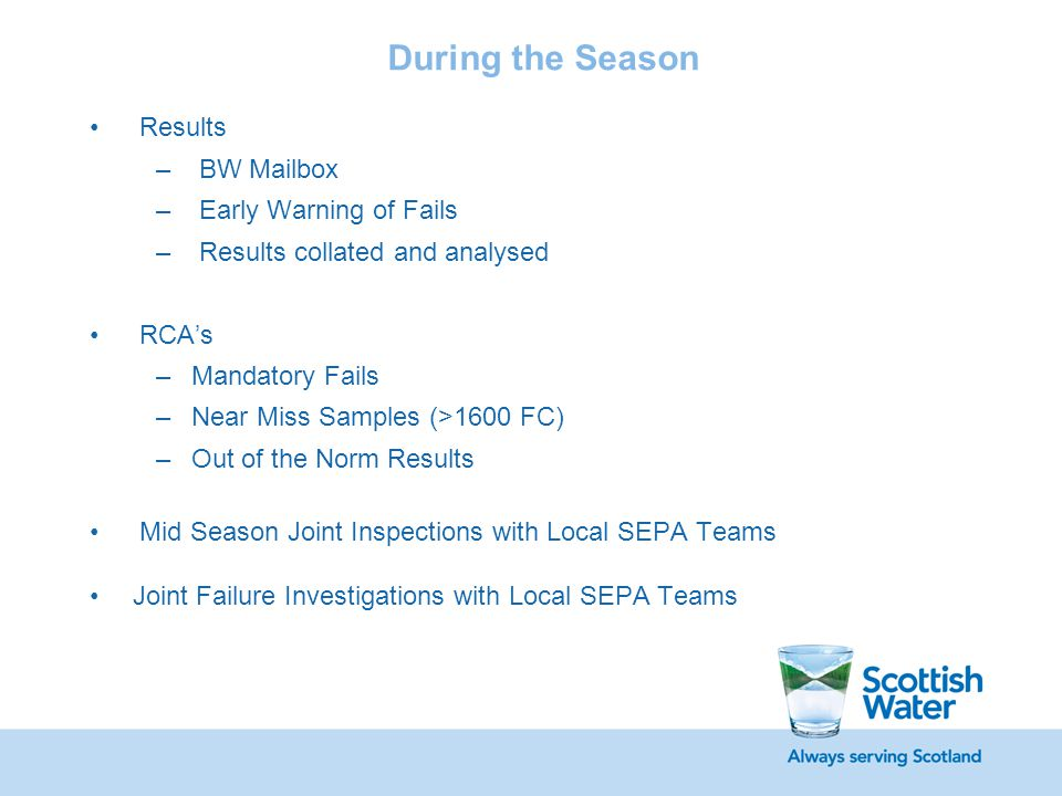 Internal BW Reporting State of Readiness Report Weekly Report to Internal Stakeholders Monthly Report to Regulatory Management Group Ongoing Risk Tracking & Reporting Internal End of Season Bathing Water Report