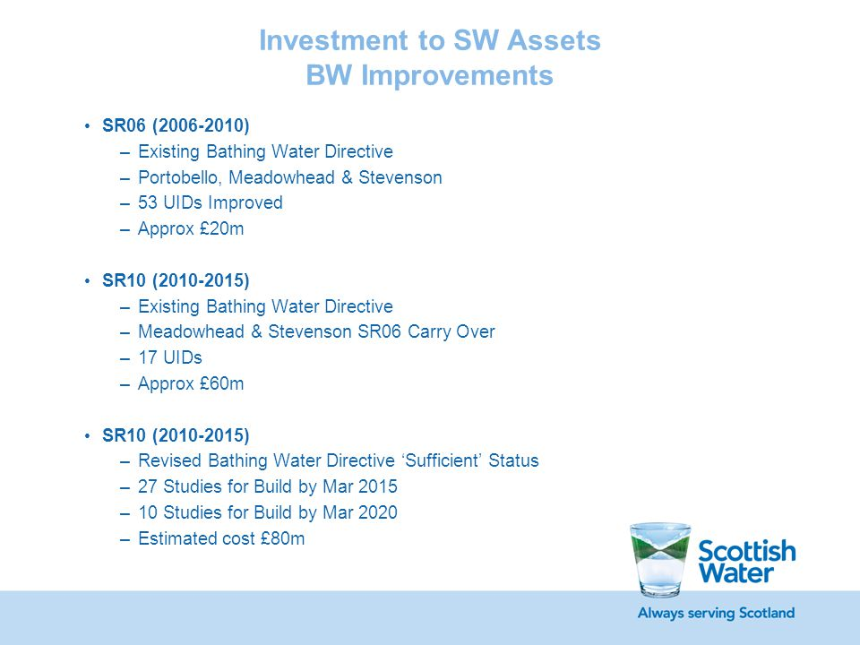Investment to SW Assets BW Improvements SR06 (2006-2010) –Existing Bathing Water Directive –Portobello, Meadowhead & Stevenson –53 UIDs Improved –Approx £20m SR10 (2010-2015) –Existing Bathing Water Directive –Meadowhead & Stevenson SR06 Carry Over –17 UIDs –Approx £60m SR10 (2010-2015) –Revised Bathing Water Directive 'Sufficient' Status –27 Studies for Build by Mar 2015 –10 Studies for Build by Mar 2020 –Estimated cost £80m