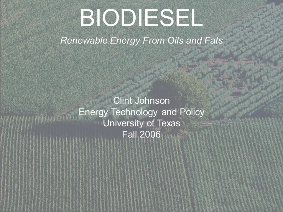 BIODIESEL Renewable Energy From Oils and Fats Clint Johnson Energy Technology and Policy University of Texas Fall 2006