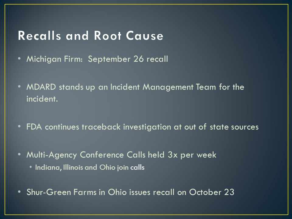 Michigan Firm: September 26 recall MDARD stands up an Incident Management Team for the incident.