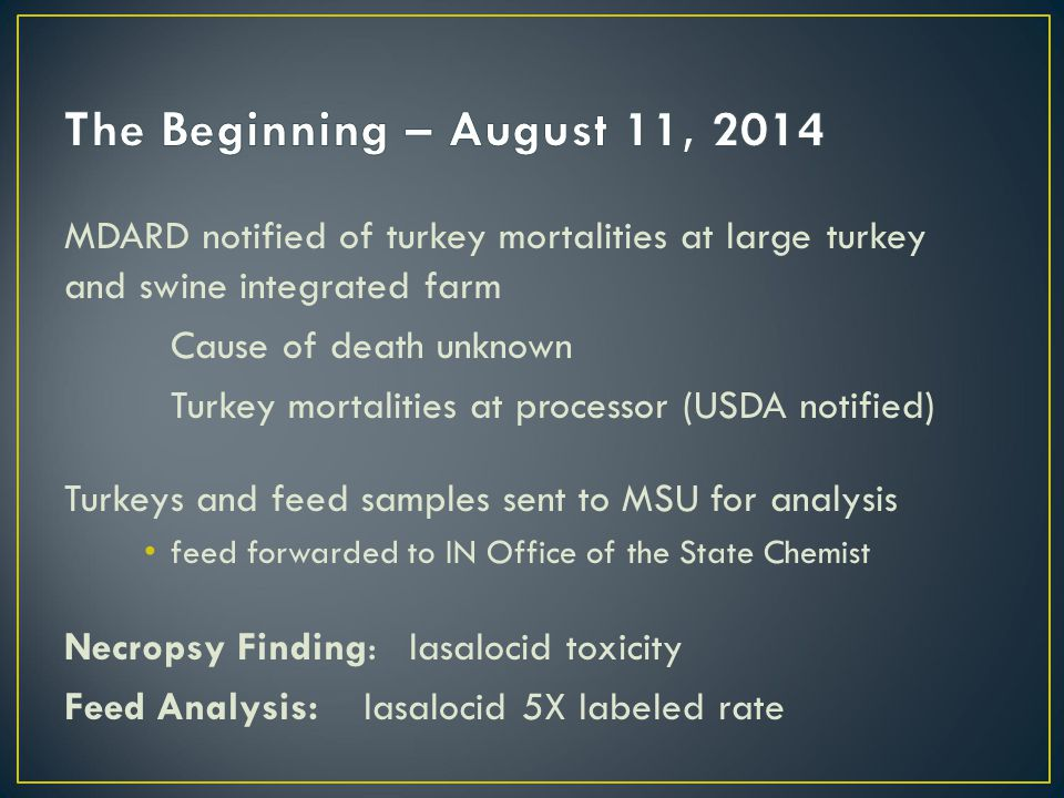 MDARD notified of turkey mortalities at large turkey and swine integrated farm Cause of death unknown Turkey mortalities at processor (USDA notified) Turkeys and feed samples sent to MSU for analysis feed forwarded to IN Office of the State Chemist Necropsy Finding: lasalocid toxicity Feed Analysis: lasalocid 5X labeled rate