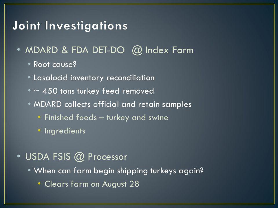 MDARD & FDA DET-DO @ Index Farm Root cause.