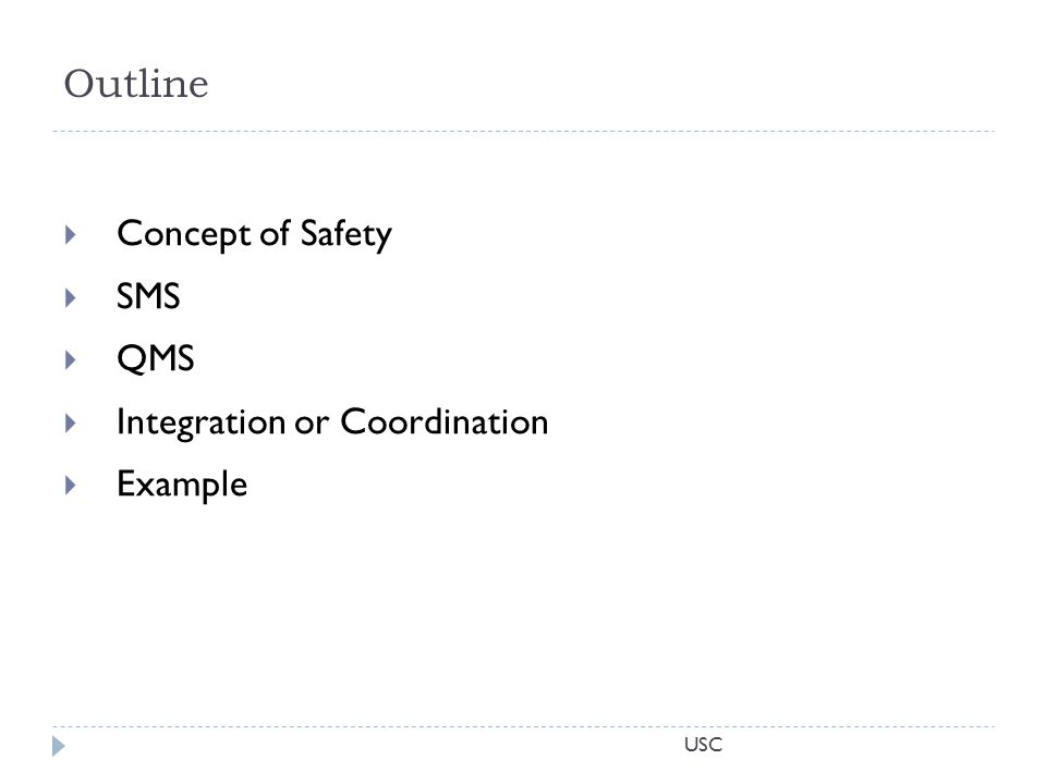 USC Outline  Concept of Safety  SMS  QMS  Integration or Coordination  Example