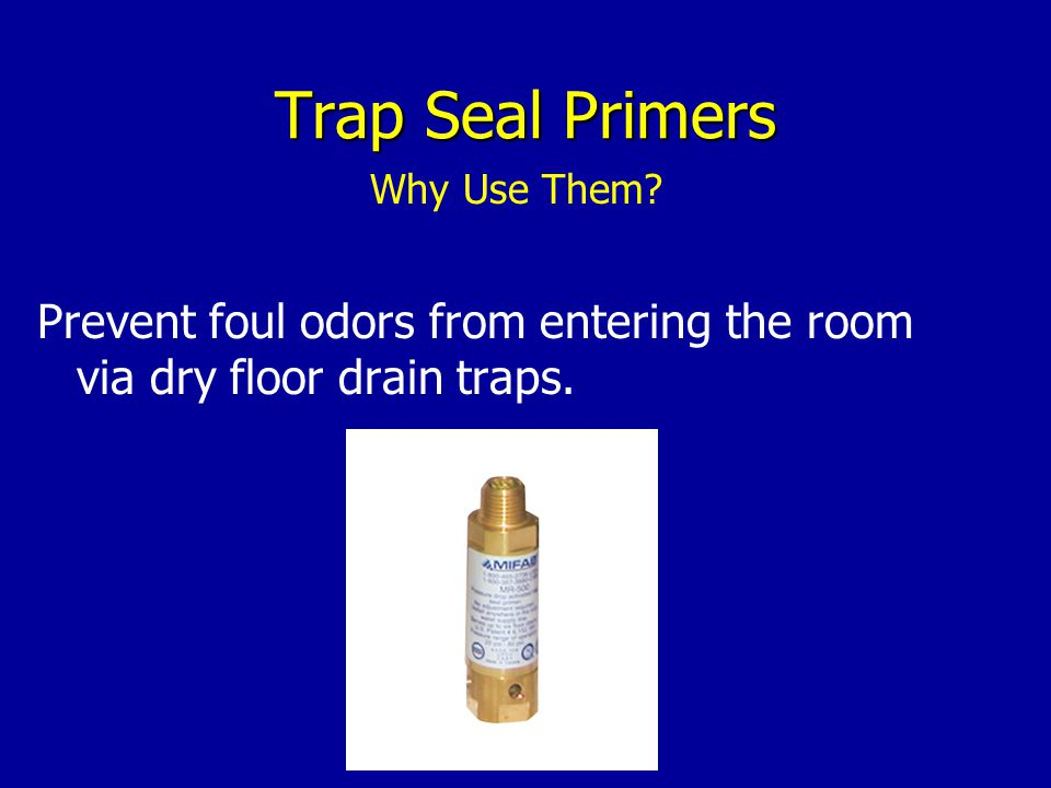 Trap Seal Primers Prevent foul odors from entering the room via dry floor drain traps.
