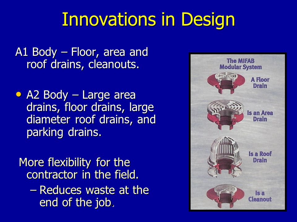 Innovations in Design A1 Body – Floor, area and roof drains, cleanouts.