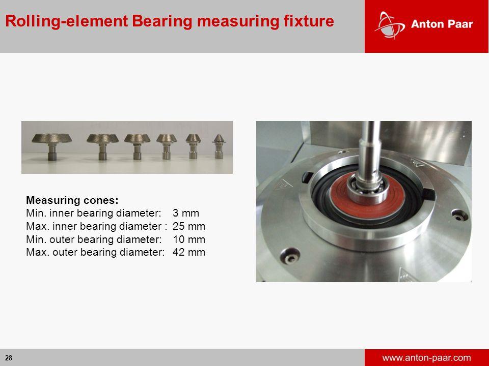 28 Rolling-element Bearing measuring fixture Measuring cones: Min.