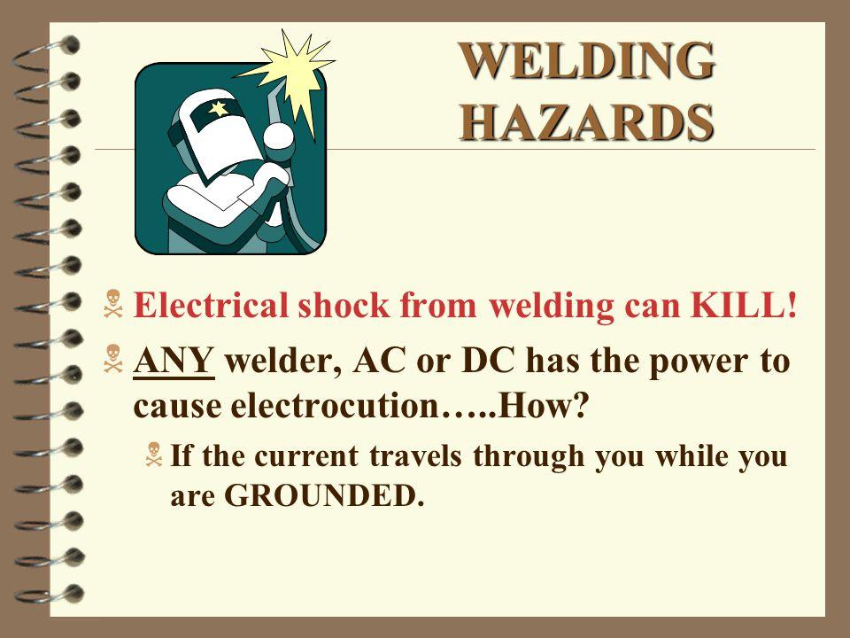 WELDING HAZARDS  Electrical shock from welding can KILL.