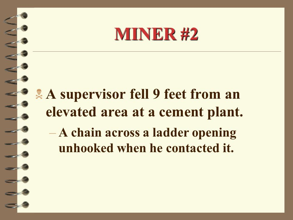 MINER #2  A supervisor fell 9 feet from an elevated area at a cement plant.