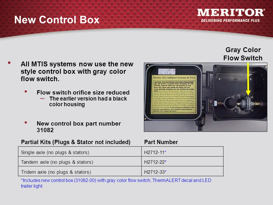 New Control Box All MTIS systems now use the new style control box with gray color flow switch. Flow switch orifice size reduced – The earlier version