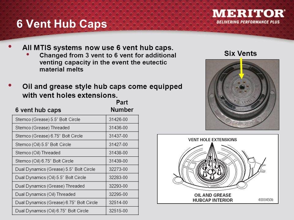 """6 vent hub caps Part Number Stemco (Grease) 5.5"""" Bolt Circle31426-00 Stemco (Grease) Threaded31436-00 Stemco (Grease) 6.75"""" Bolt Circle31437-00 Stemco"""