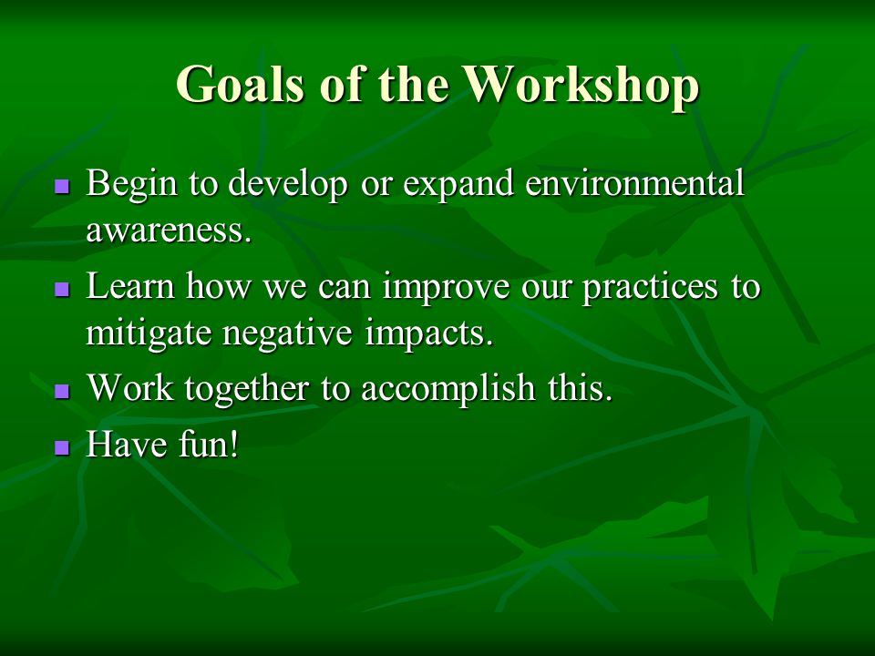 Goals of the Workshop Begin to develop or expand environmental awareness.