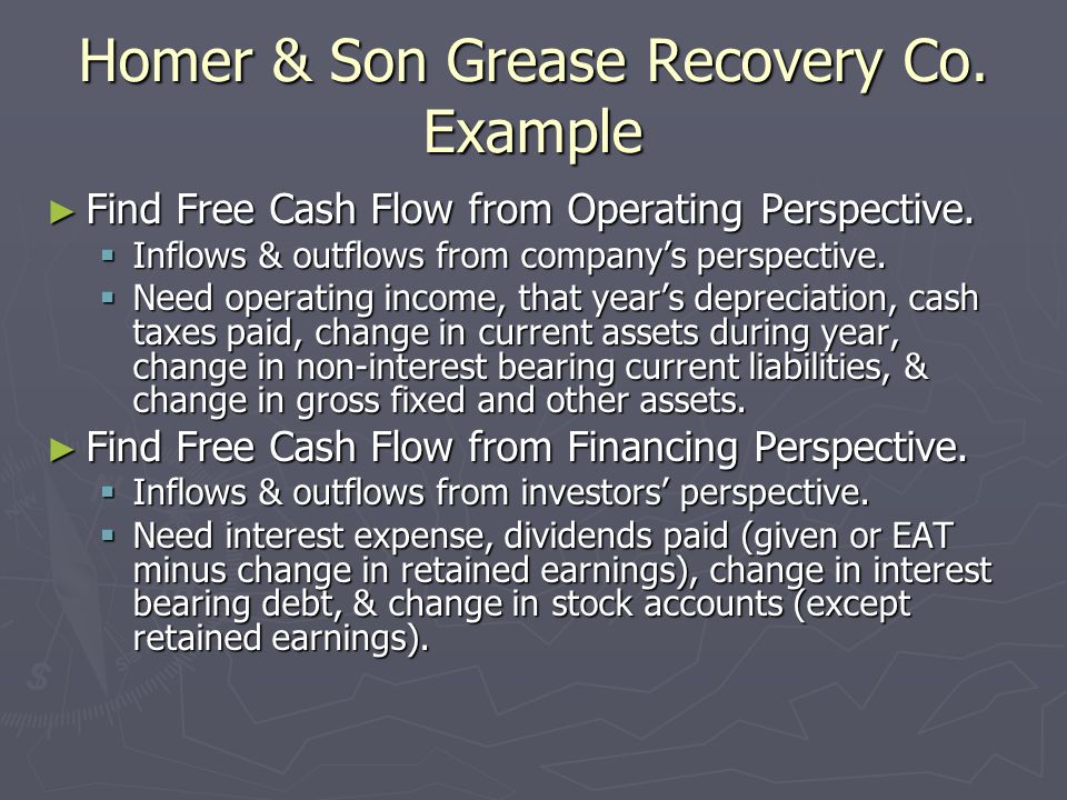 Homer & Son Grease Recovery Co.Example ► Find Free Cash Flow from Operating Perspective.