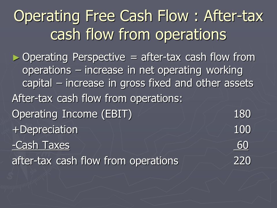 Operating Free Cash Flow : After-tax cash flow from operations ► Operating Perspective = after-tax cash flow from operations – increase in net operating working capital – increase in gross fixed and other assets After-tax cash flow from operations: Operating Income (EBIT)180 +Depreciation100 -Cash Taxes 60 after-tax cash flow from operations 220