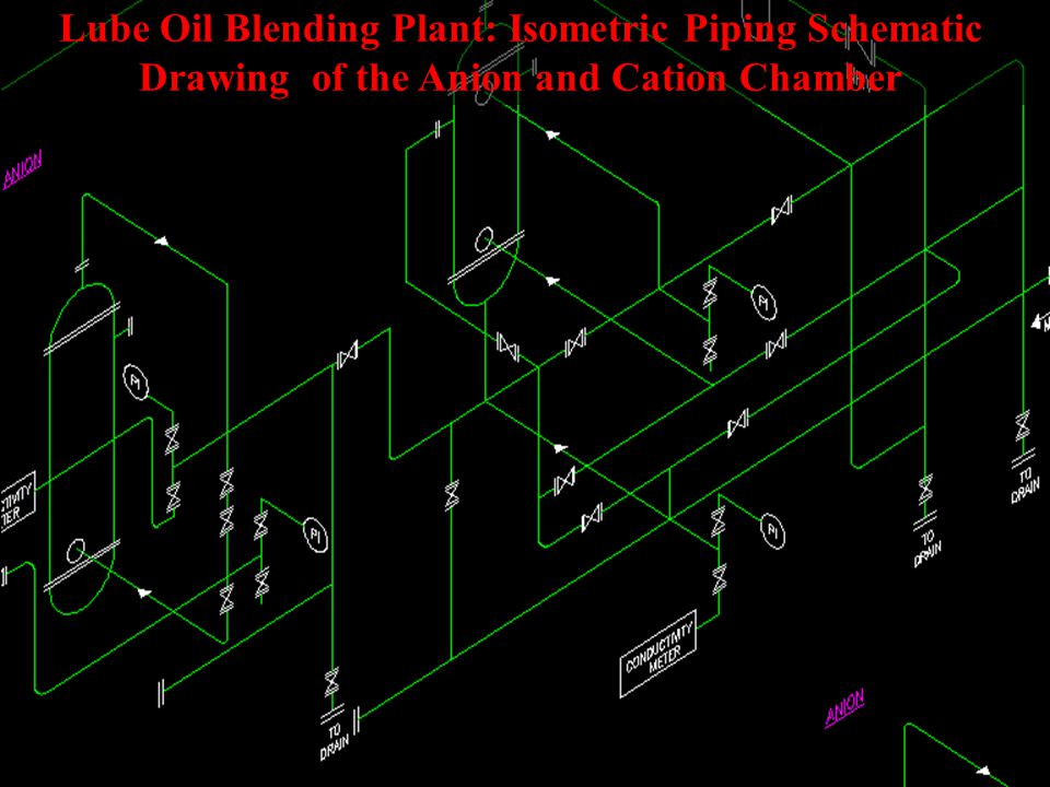 Lube Oil Blending Plant: Overview of Entire Piping Schematic Drawing in Isometric