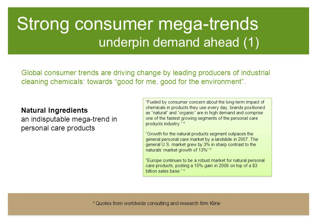 Strong consumer mega-trends underpin demand ahead (1) Natural Ingredients an indisputable mega-trend in personal care products Fueled by consumer concern about the long-term impact of chemicals in products they use every day, brands positioned as natural and organic are in high demand and comprise one of the fastest growing segments of the personal care products industry. * Growth for the natural products segment outpaces the general personal care market by a landslide in 2007.