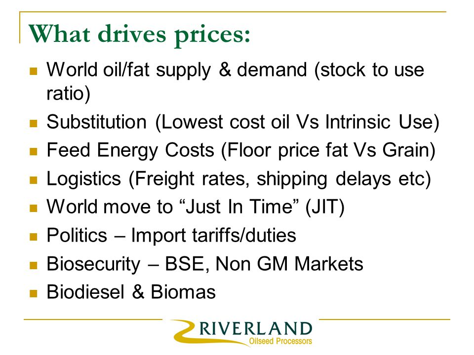 What drives prices: World oil/fat supply & demand (stock to use ratio) Substitution (Lowest cost oil Vs Intrinsic Use) Feed Energy Costs (Floor price fat Vs Grain) Logistics (Freight rates, shipping delays etc) World move to Just In Time (JIT) Politics – Import tariffs/duties Biosecurity – BSE, Non GM Markets Biodiesel & Biomas