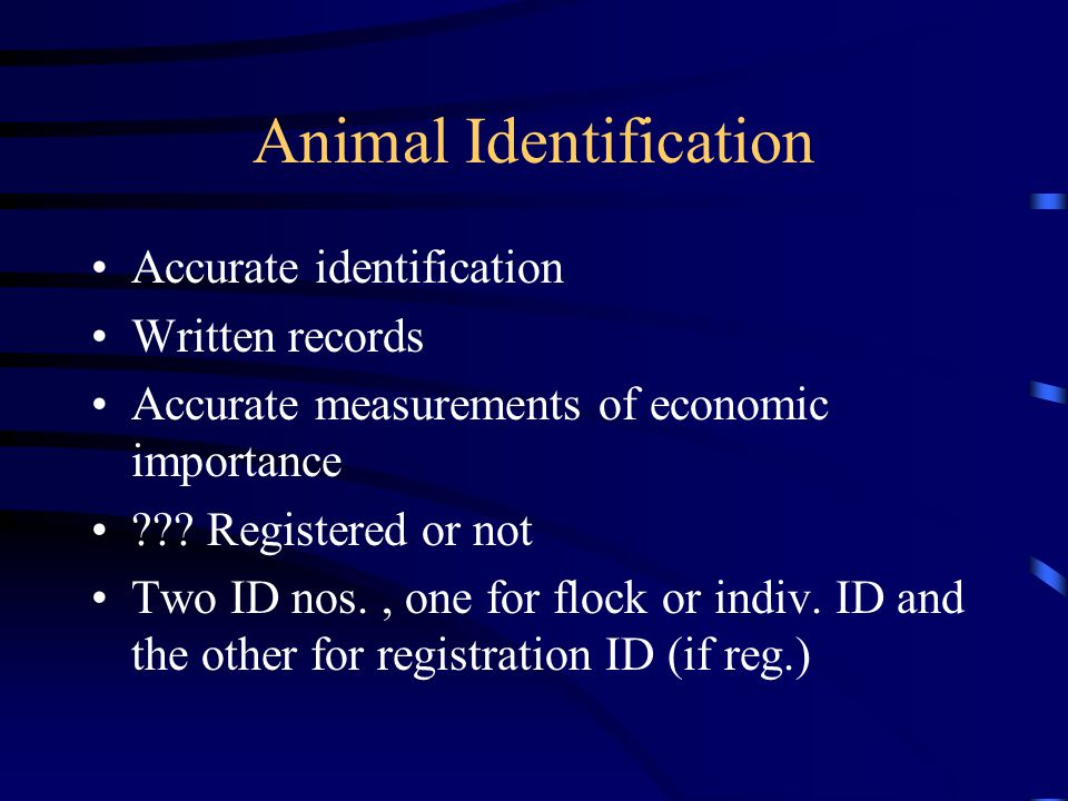 Animal Identification Accurate identification Written records Accurate measurements of economic importance ??? Registered or not Two ID nos., one for