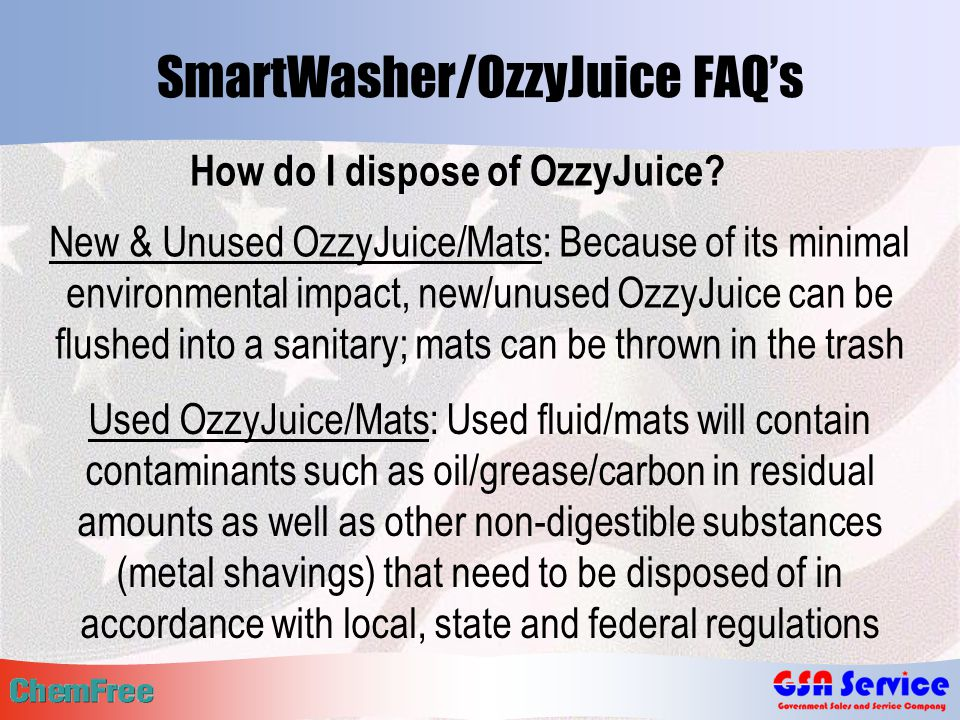 SmartWasher/OzzyJuice FAQ's How do I dispose of OzzyJuice.
