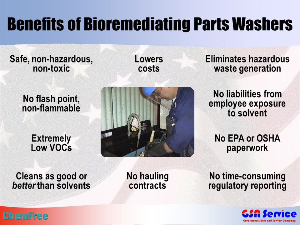 Benefits of Bioremediating Parts Washers No flash point, non-flammable Extremely Low VOCs Eliminates hazardous waste generation No liabilities from employee exposure to solvent No EPA or OSHA paperwork Cleans as good or better than solvents Safe, non-hazardous, non-toxic No time-consuming regulatory reporting Lowers costs No hauling contracts