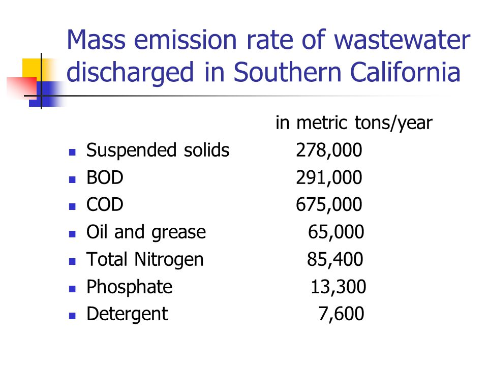 Mass emission rate of wastewater discharged in Southern California in metric tons/year Suspended solids 278,000 BOD 291,000 COD 675,000 Oil and grease 65,000 Total Nitrogen 85,400 Phosphate 13,300 Detergent 7,600