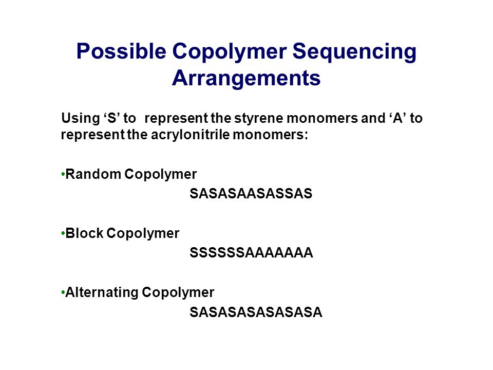 Possible Copolymer Sequencing Arrangements Using 'S' to represent the styrene monomers and 'A' to represent the acrylonitrile monomers: Random Copolymer SASASAASASSAS Block Copolymer SSSSSSAAAAAAA Alternating Copolymer SASASASASASASA