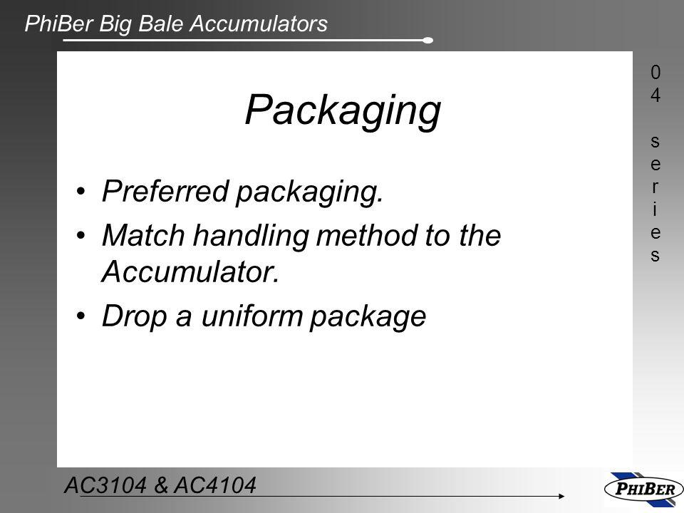 PhiBer Big Bale Accumulators 04series04series AC3104 & AC4104 Packaging Preferred packaging. Match handling method to the Accumulator. Drop a uniform