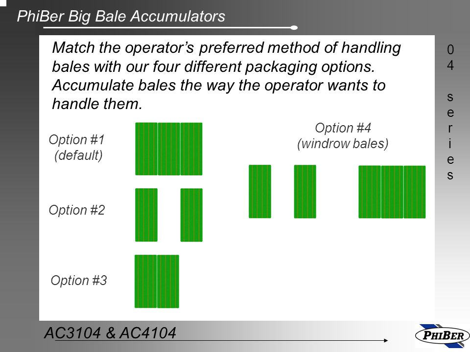 PhiBer Big Bale Accumulators 04series04series AC3104 & AC4104 PhiBer has 10 different models of Bale Grabs to match the loader tractor capabilities.