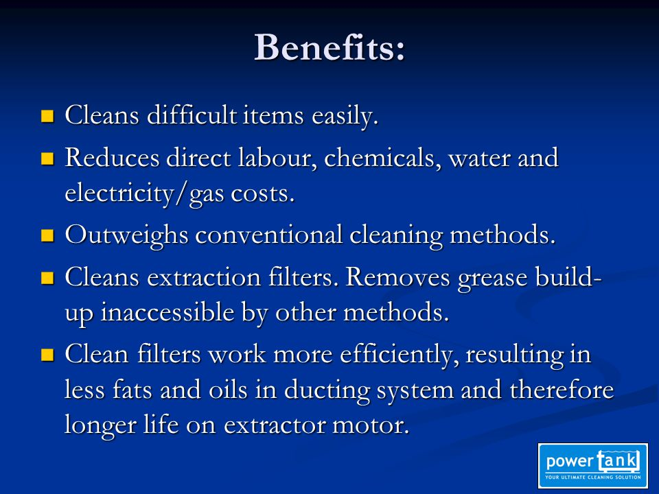Benefits: Cleans difficult items easily. Cleans difficult items easily.